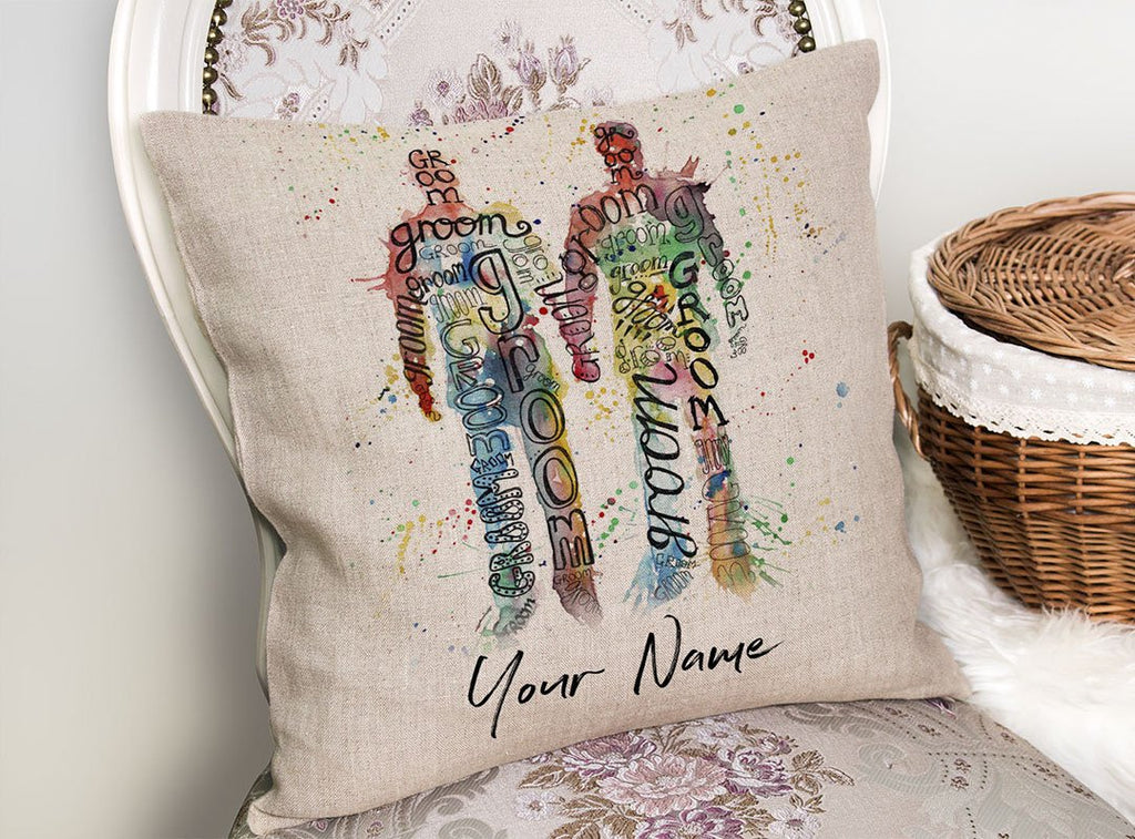 Groom & Groom Personalised Linen Cushion Cover