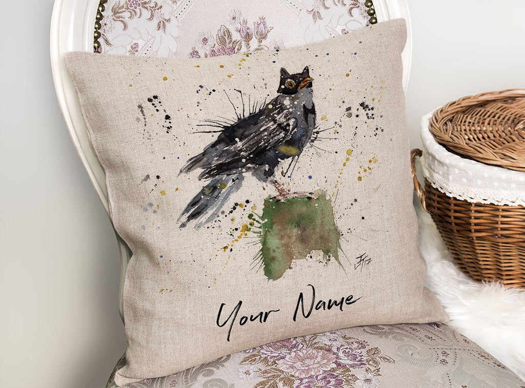 Blackbird Batman Personalised Linen Cushion Cover