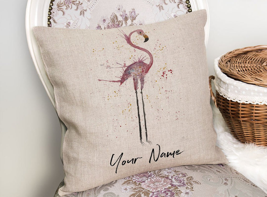 """Sheila"" Flamingo Personalised Linen Cushion Cover"