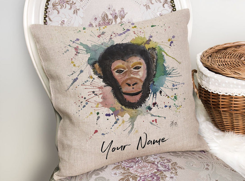 """Ciril"" Monkey Personalised Linen Cushion Cover"