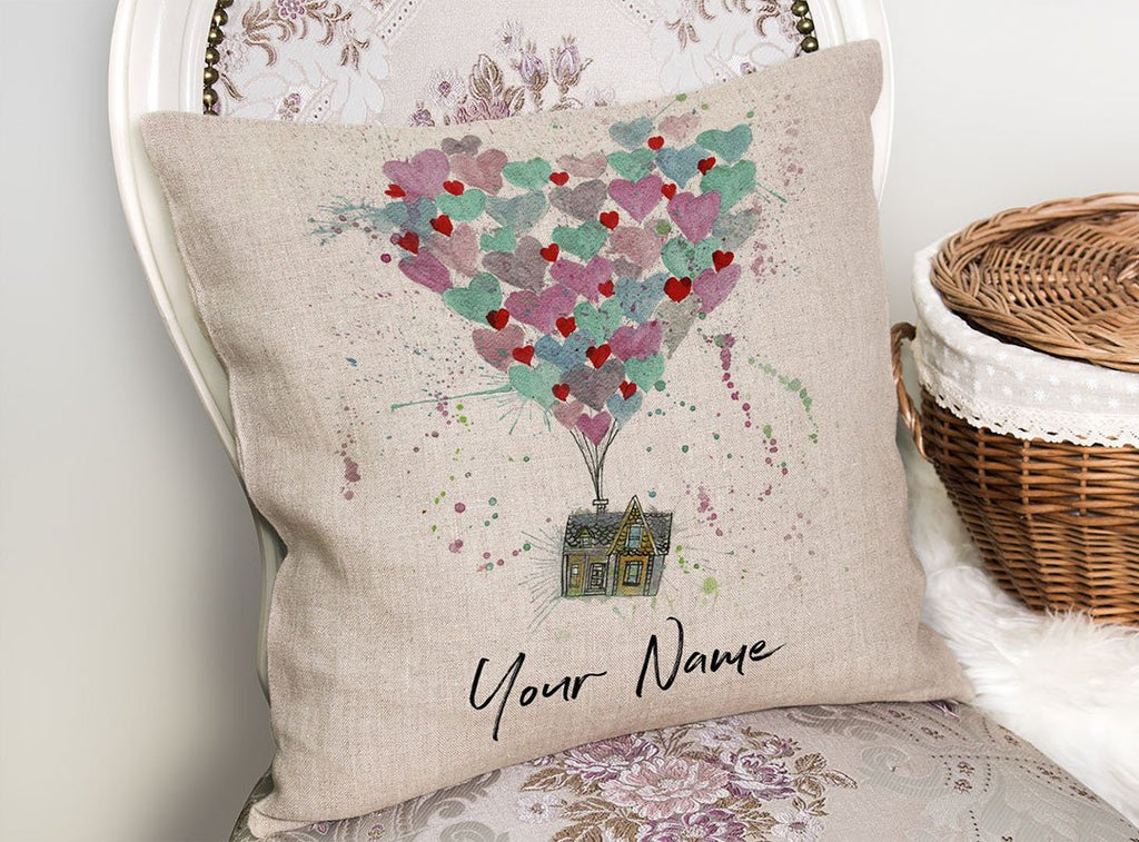Valentines Up Personalised Linen Cushion Cover