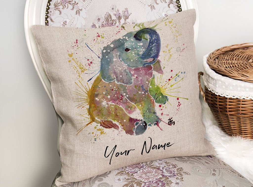 Baby Elephant Personalised Linen Cushion Cover