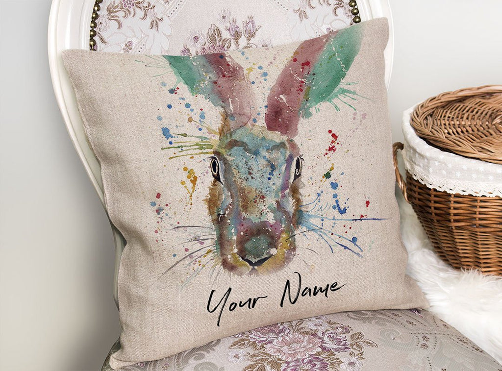 Riddle Hare Personalised Linen Cushion Cover