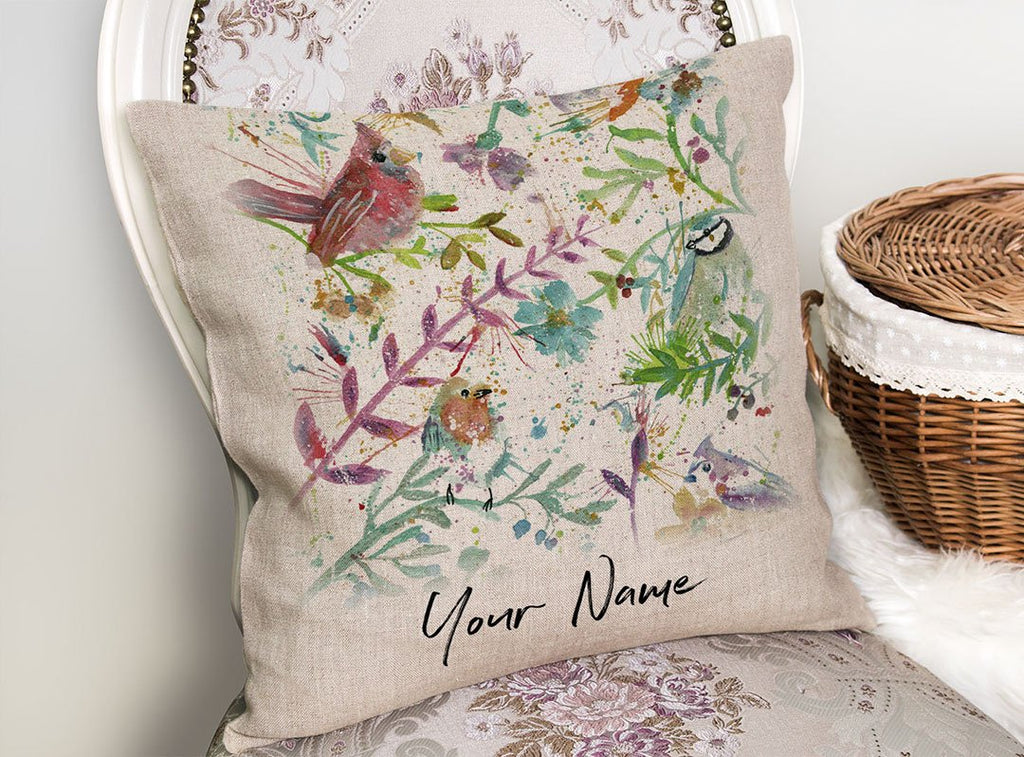 Hedgerow Personalised Linen Cushion Cover