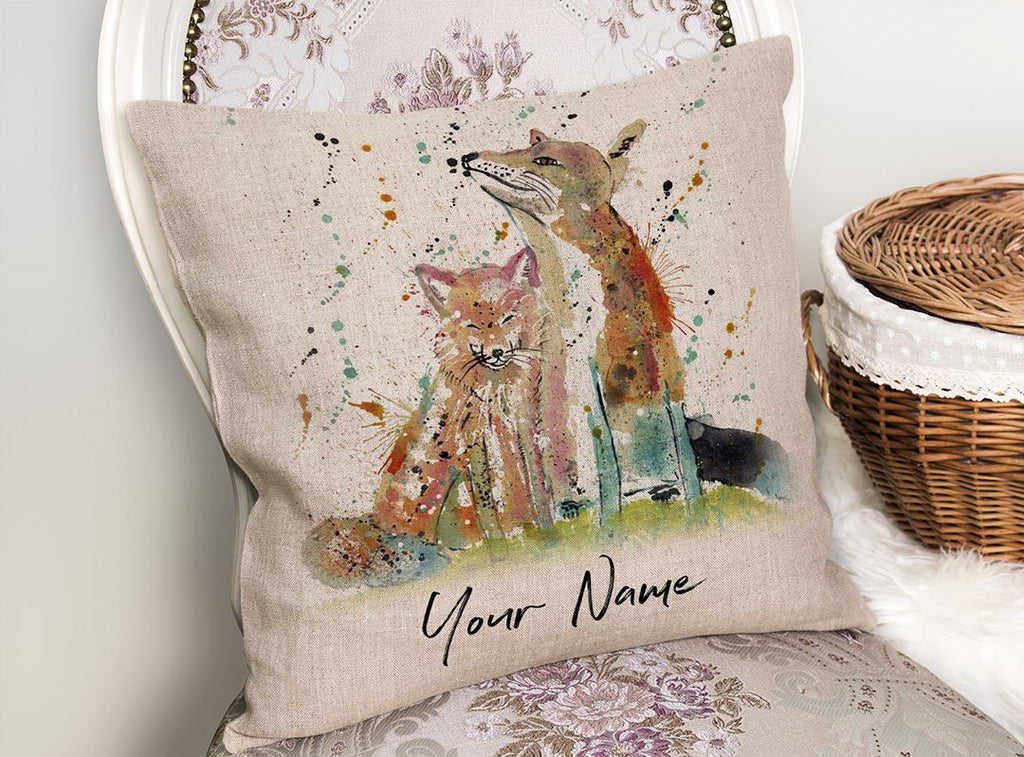 """Always Us"" Foxes Personalised Linen Cushion Cover"
