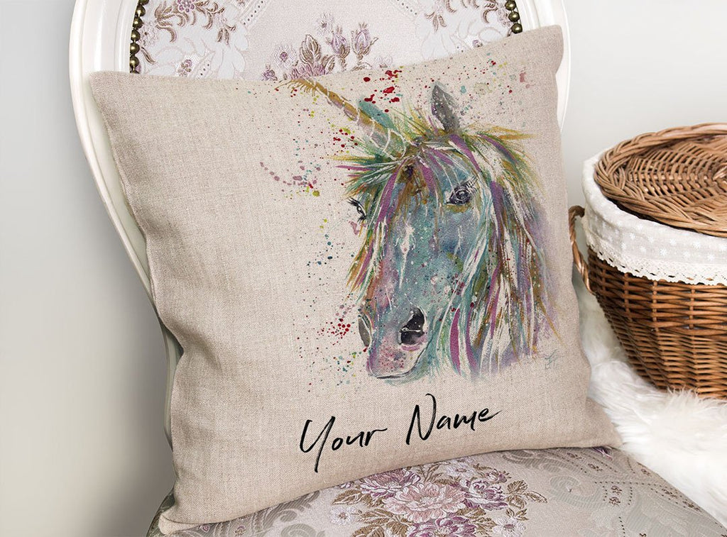 """Millie"" Unicorn Personalised Linen Cushion Cover"