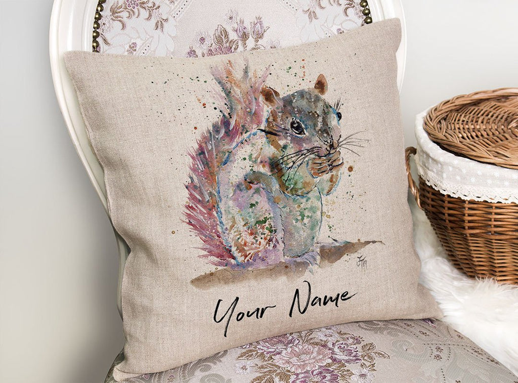"""Nige"" Squirrel Personalised Linen Cushion Cover"