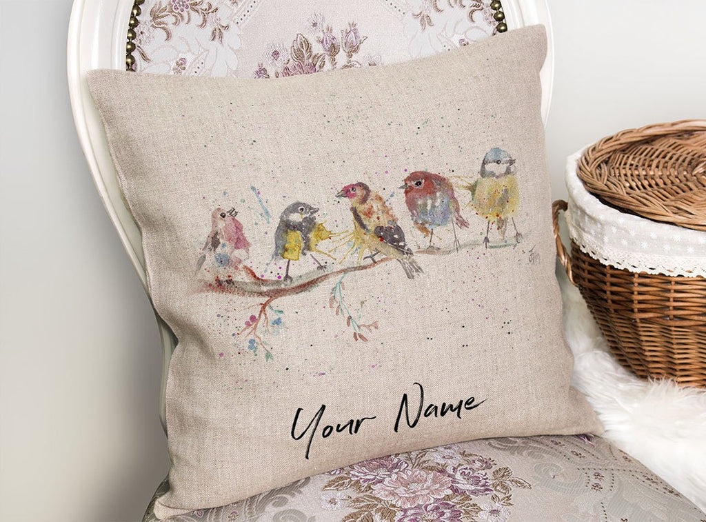 """Tree Friends"" Birds 2 Personalised Linen Cushion Cover"