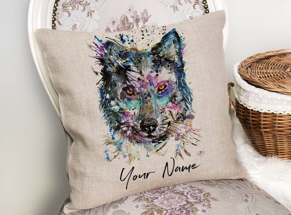 """Howl"" Wolf Personalised Linen Cushion Cover"