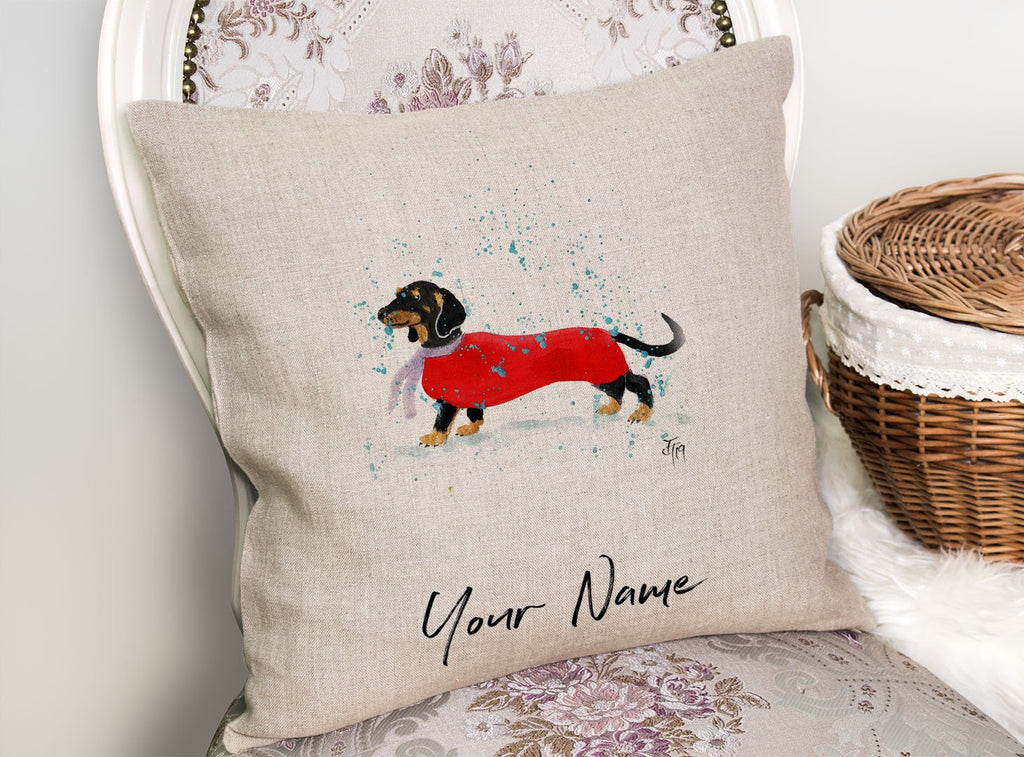 Sausage Roll Personalised Linen Cushion Cover