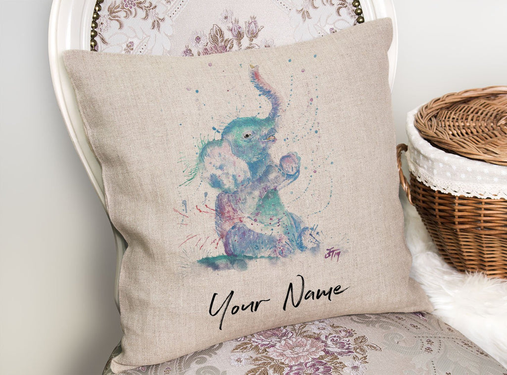 """Arthur"" Baby Elephant Personalised Linen Cushion Cover"