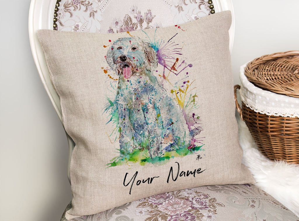 """Wilf"" Cockapoo Personalised Linen Cushion Cover"