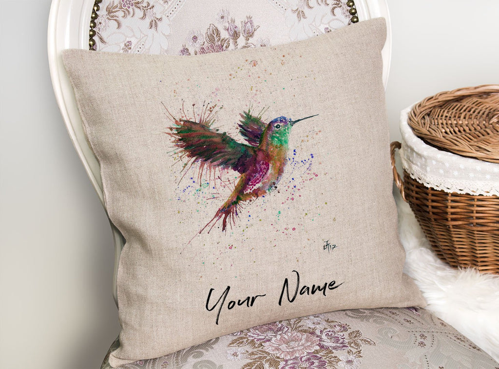"""Susan"" Hummingbird Personalised Linen Cushion Cover"