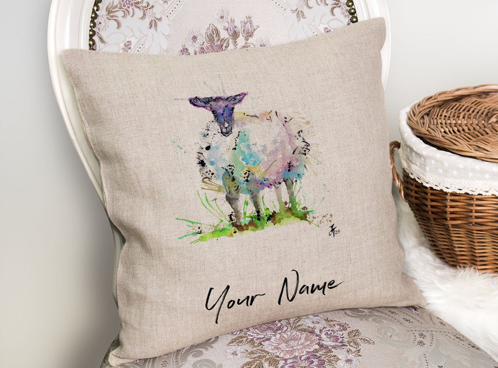 """I Adore Ewe"" Sheep Personalised Linen Cushion Cover"