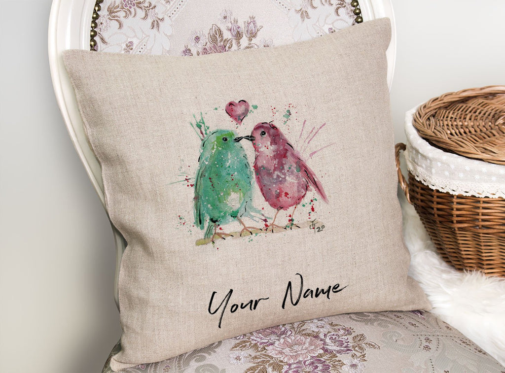 Tweet Heart Personalised Linen Cushion Cover