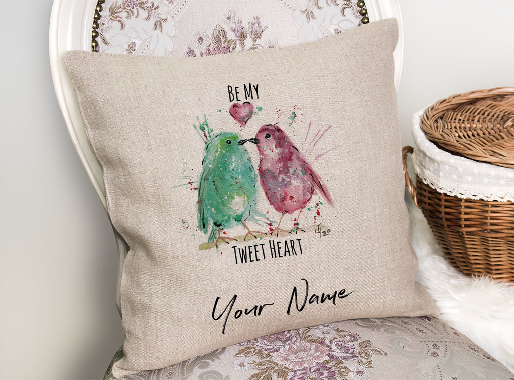Be My Tweet Heart Personalised Linen Cushion Cover