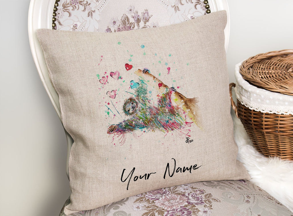 """Hang With Me"" Sloth Personalised Linen Cushion Cover"