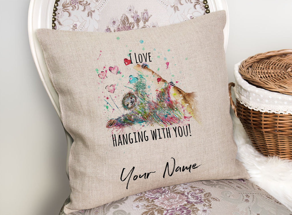 """I Love Hanging With You"" Sloth Personalised Linen Cushion Cover"