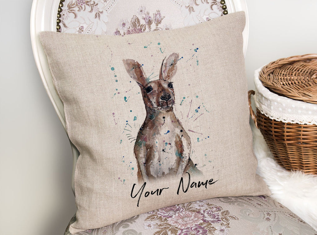 """Casey"" Kangaroo Personalised Linen Cushion Cover"