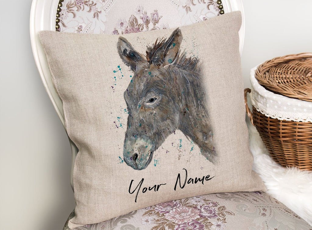 """Dennis"" Donkey Personalised Linen Cushion Cover"