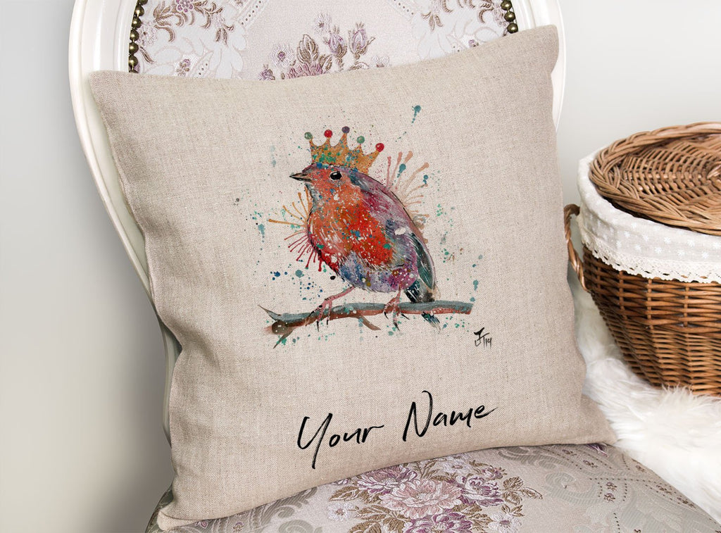 """Clancy"" Robin Personalised Linen Cushion Cover"