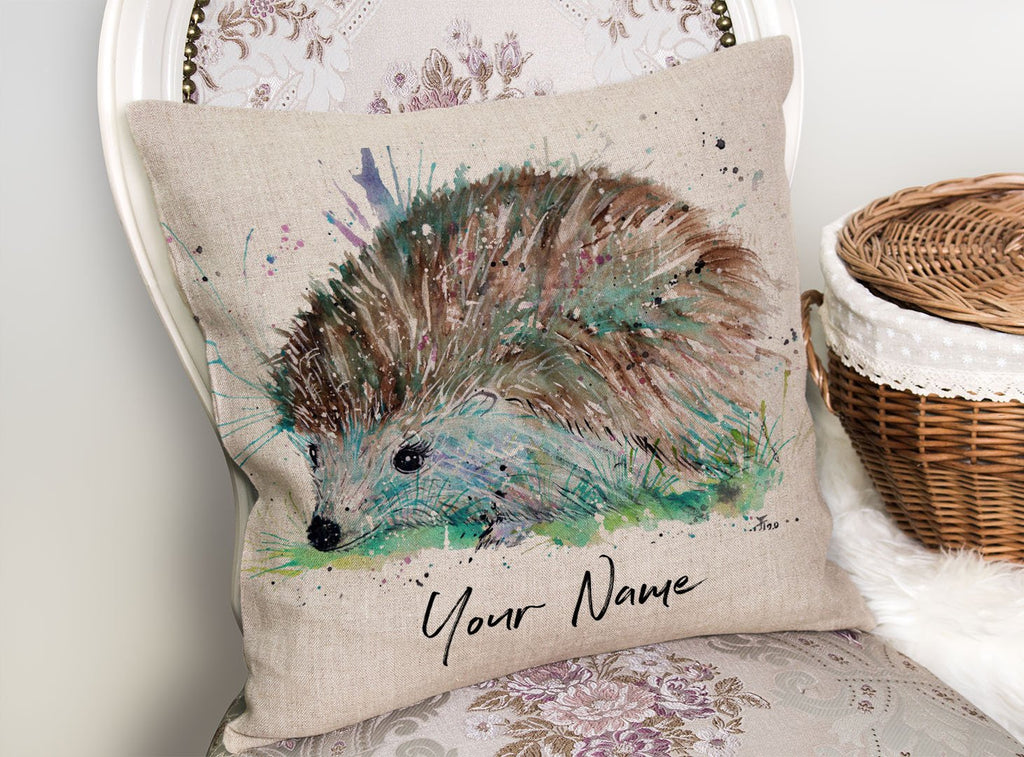 """Sweet"" Hedgehog Personalised Linen Cushion Cover"