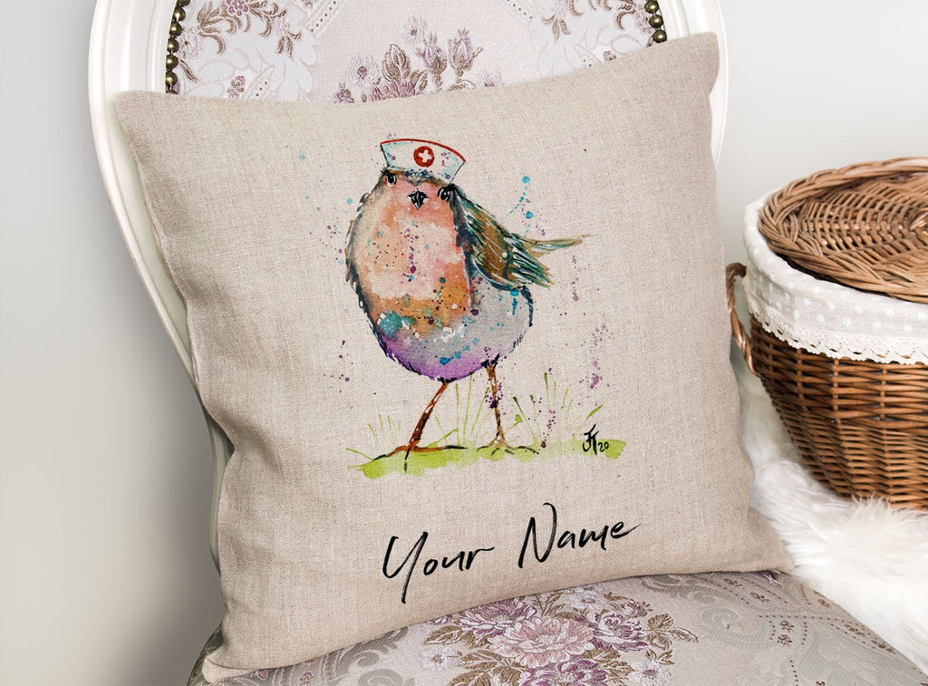 """Saviour"" Robin Personalised Linen Cushion Cover"