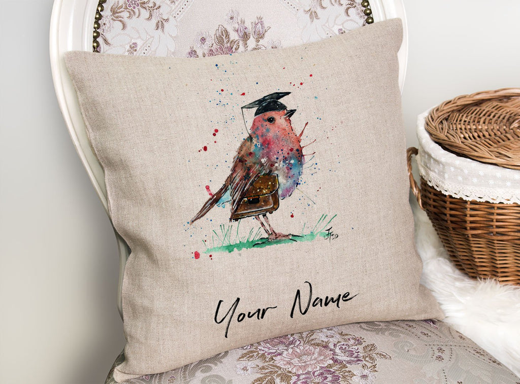 """Teach"" Robin Personalised Linen Cushion Cover"