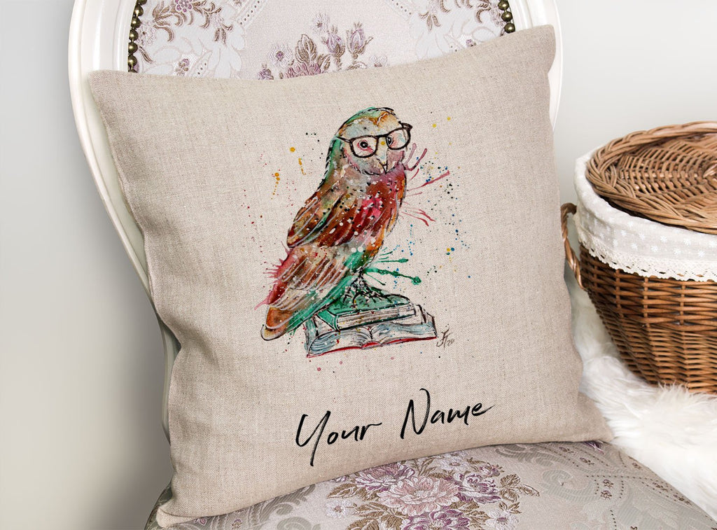 """Knowledge"" Owl Personalised Linen Cushion Cover"