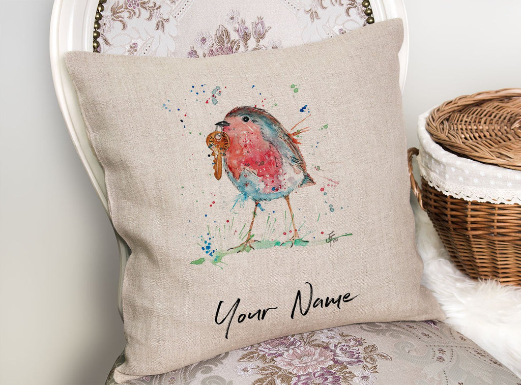 """Grateful"" Robin Personalised Linen Cushion Cover"
