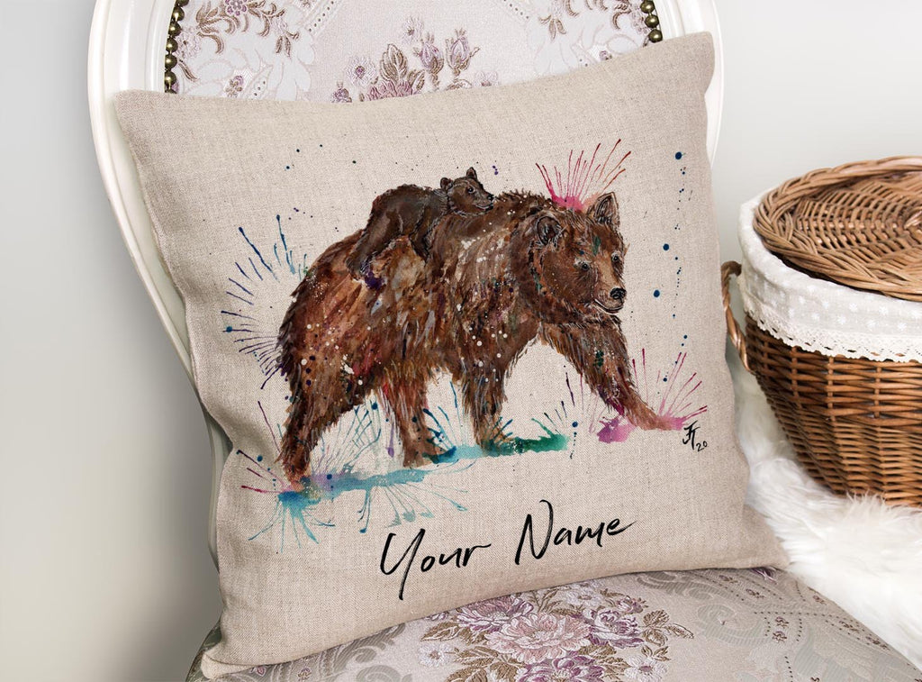 """Precious"" Bears Personalised Linen Cushion Cover"