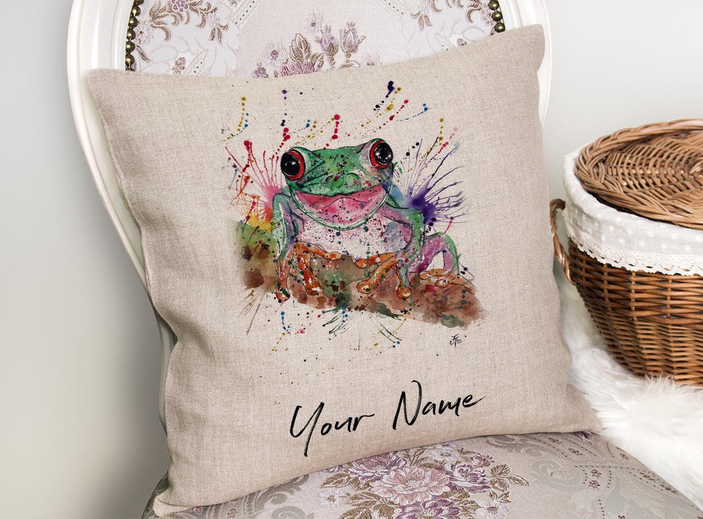 Chris the Frog Personalised Linen Cushion Cover