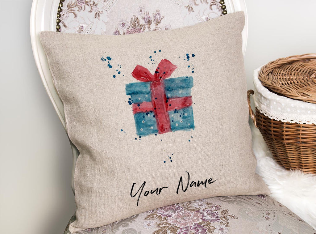 Christmas Present Personalised Linen Cushion Cover