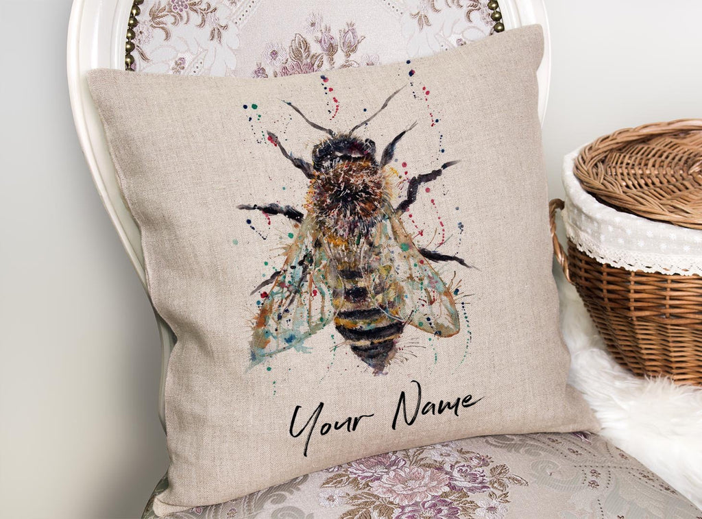 Honey Personalised Linen Cushion Cover