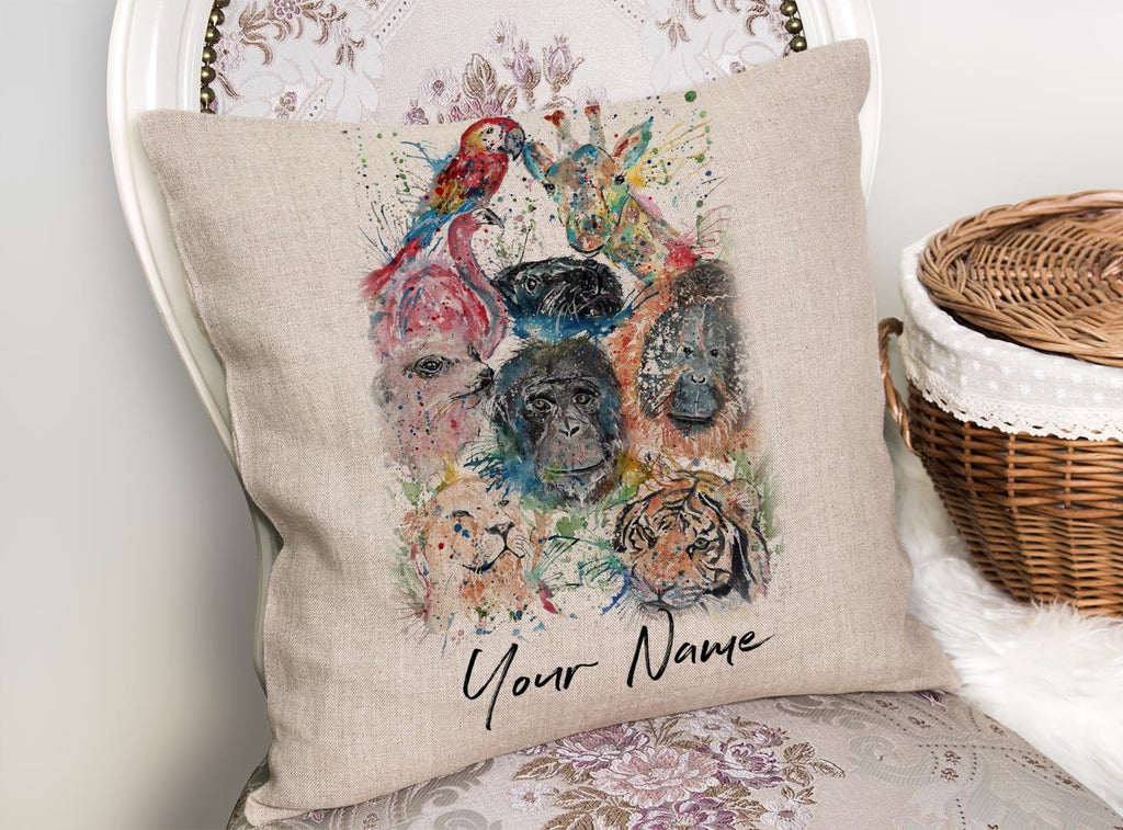 Zoo Personalised Linen Cushion Cover