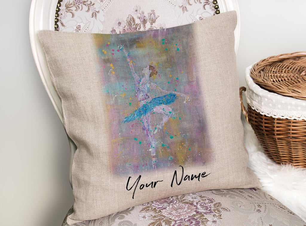"""Dainty"" Ballerina Personalised Linen Cushion Cover"