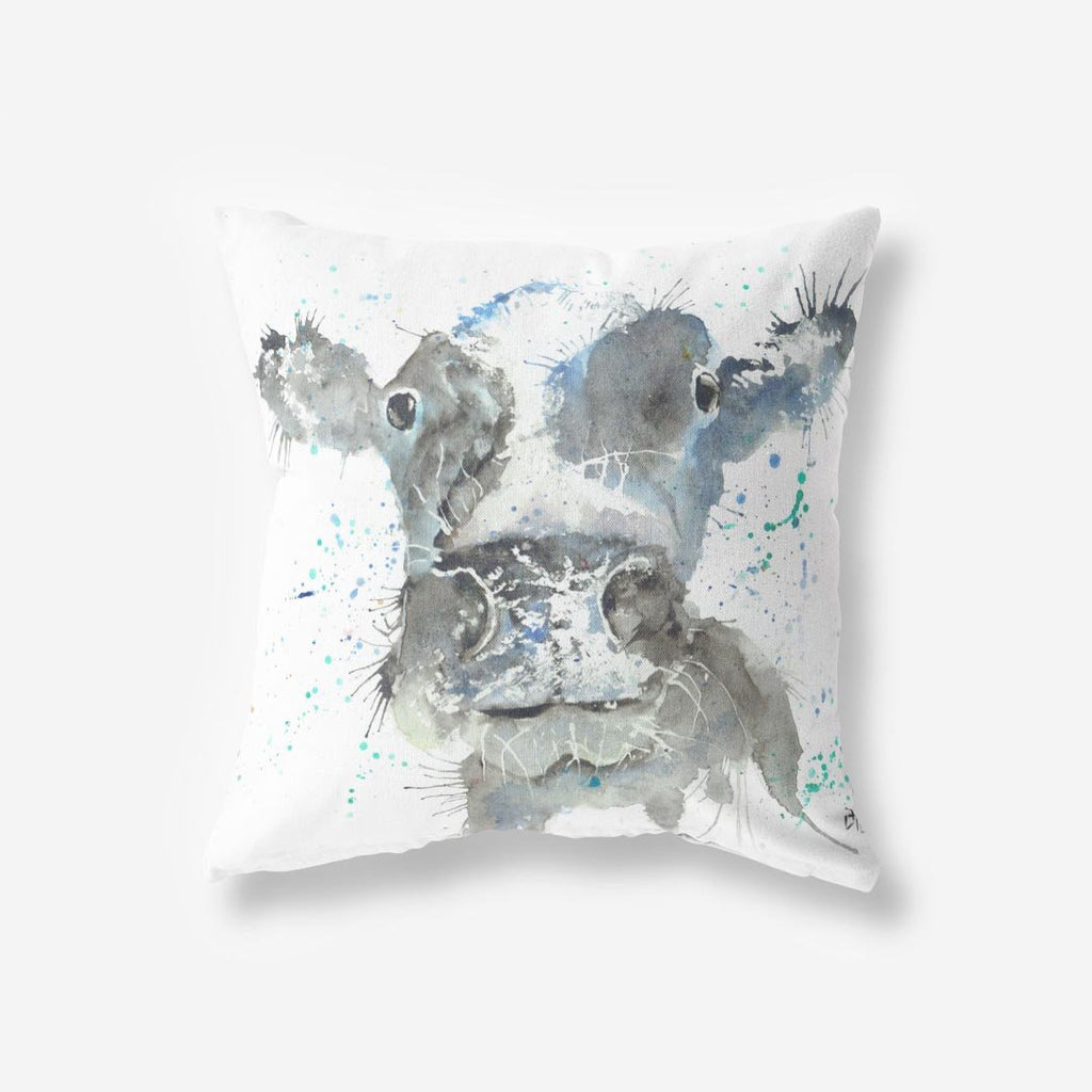 """Moo"" Cow Faux Suede Cushion"