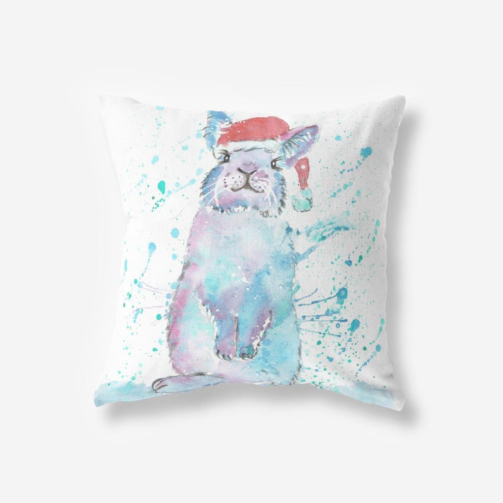 Christmas Bunny Faux Suede Cushion
