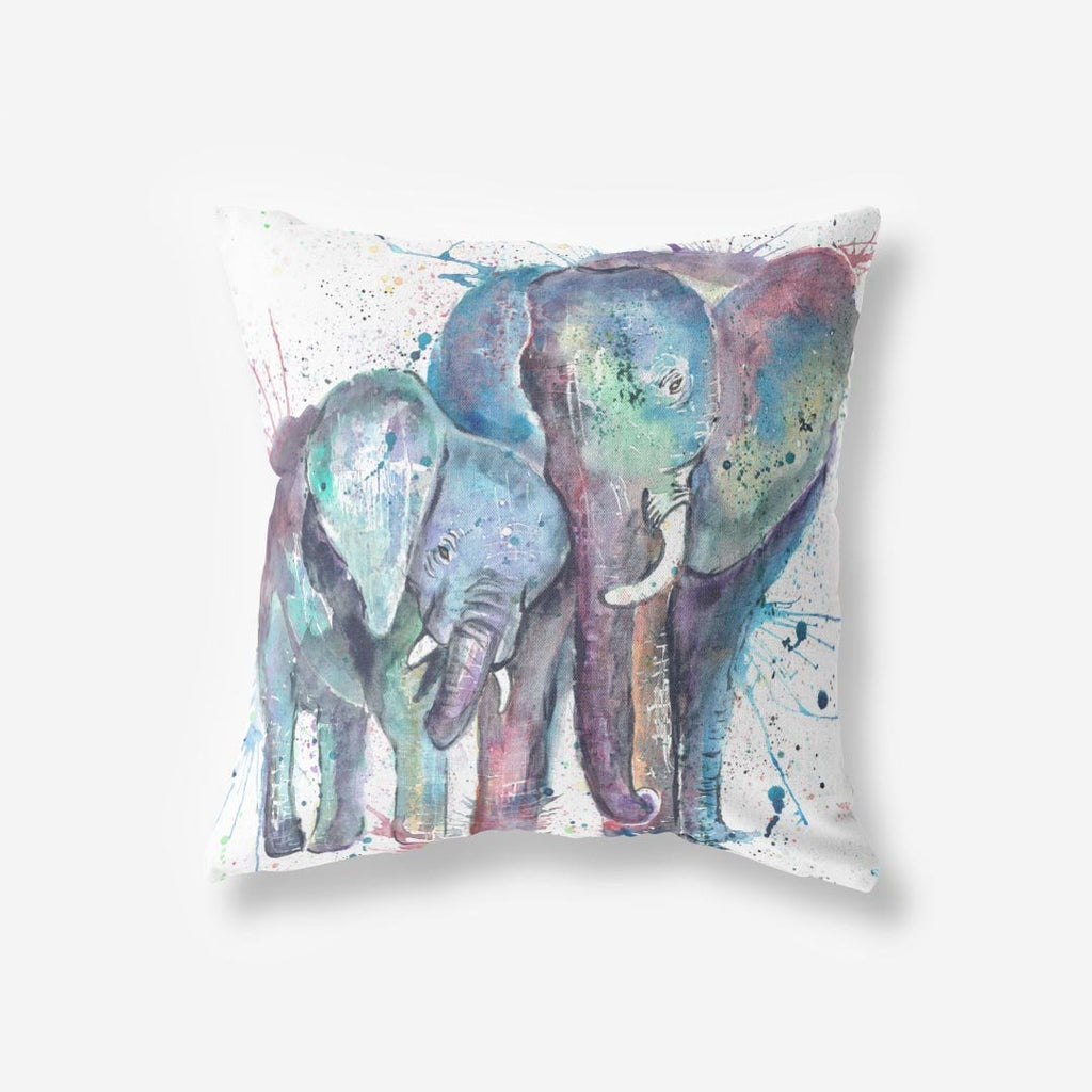 """Us"" Mummy & Babby Elephant Faux Suede Cushion"