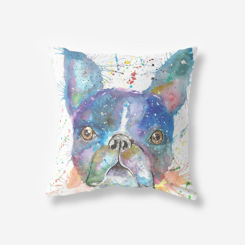 """Bruno"" Boston Terrier Faux Suede Cushion"