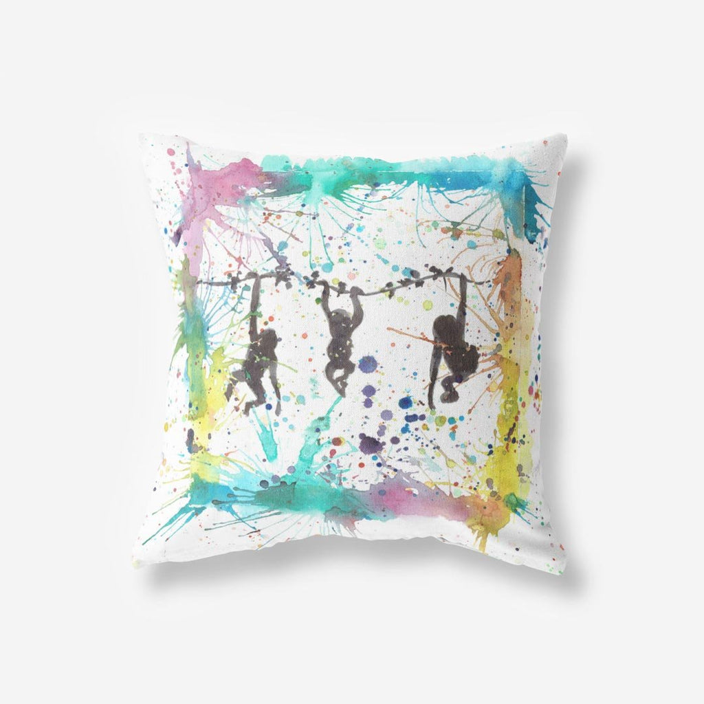 Monkey Business Faux Suede Cushion