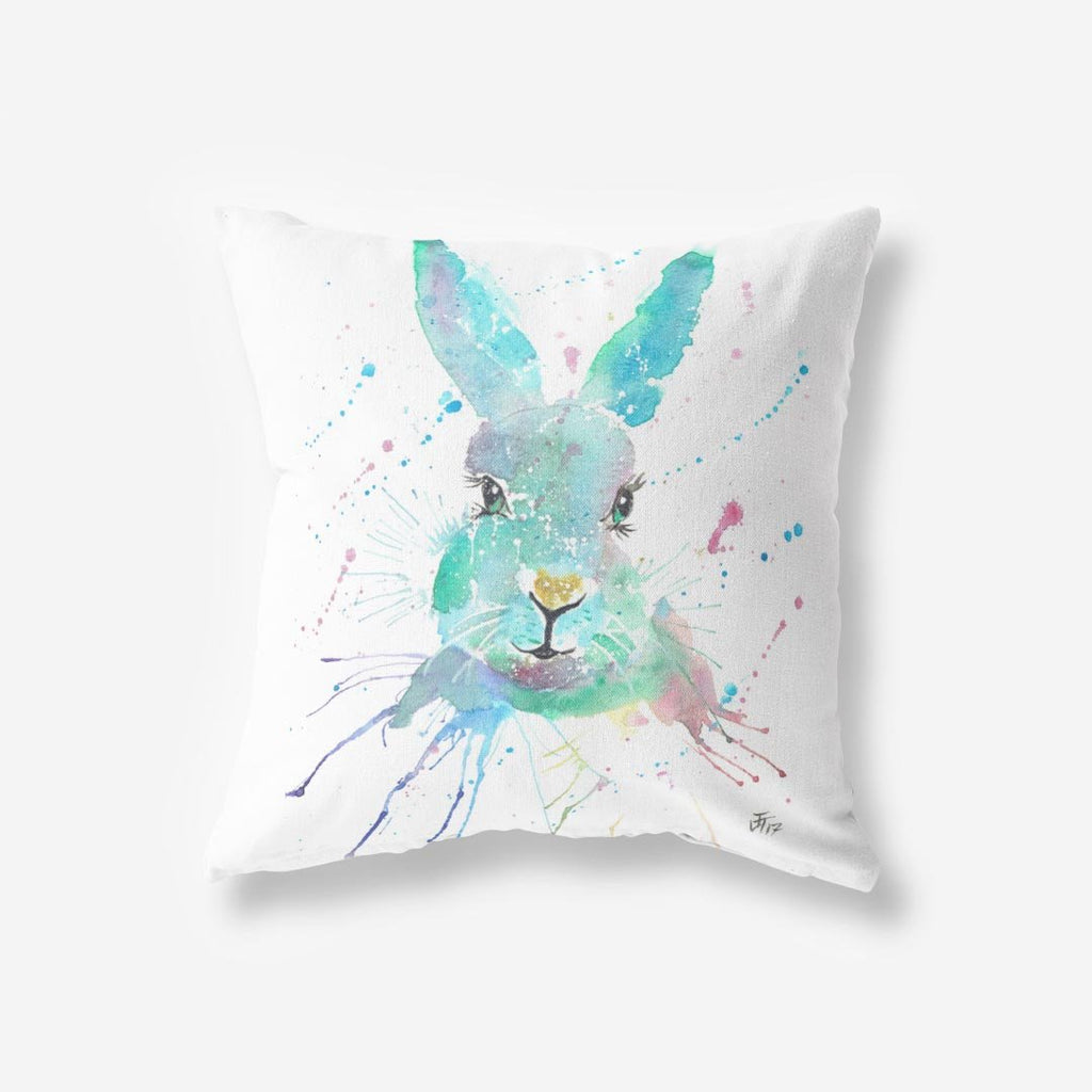 """Minty"" Hare Faux Suede Cushion"