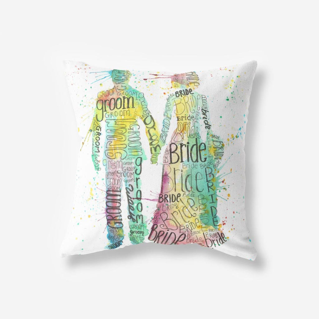 Bride & Groom Faux Suede Cushion