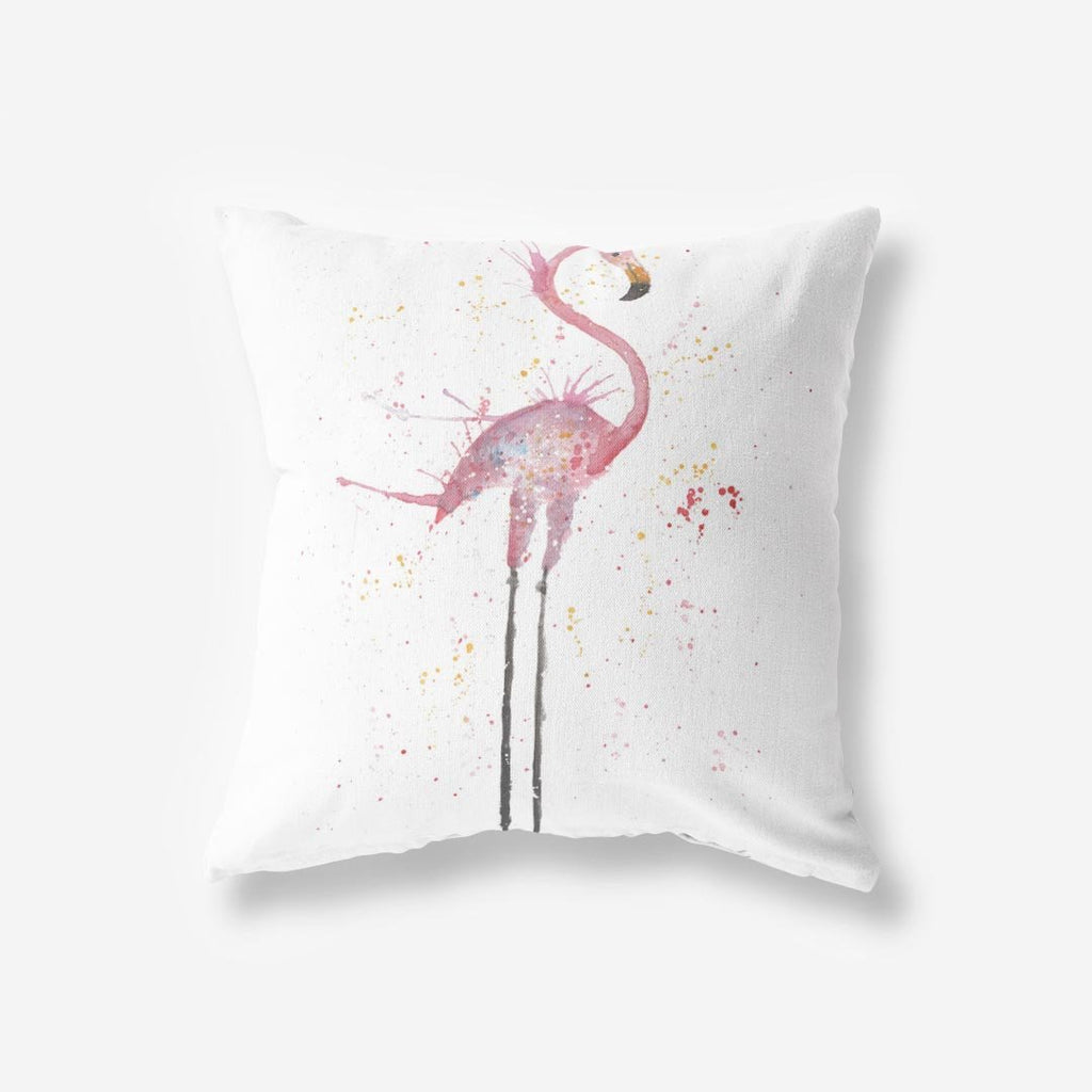 """Sheila"" Flamingo Faux Suede Cushion"