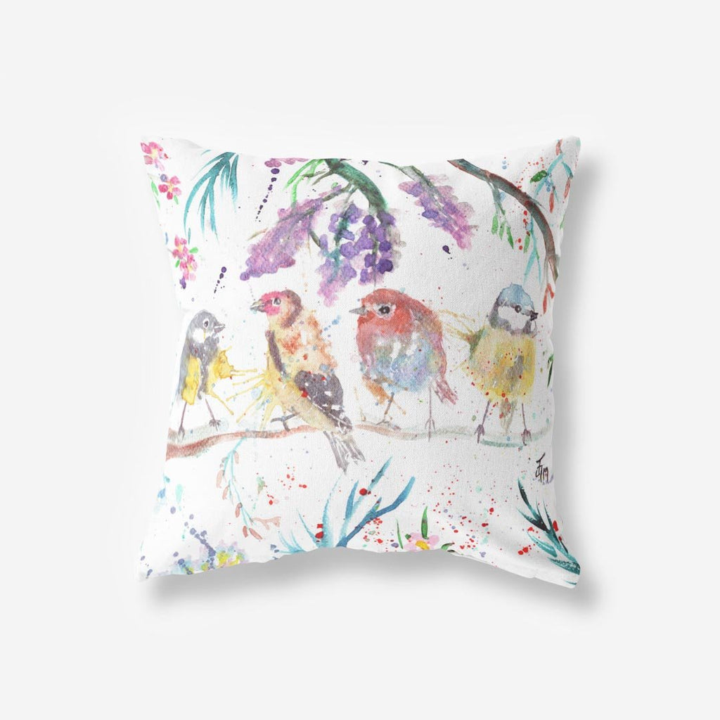 """Tree Friends"" Birds Faux Suede Cushion"