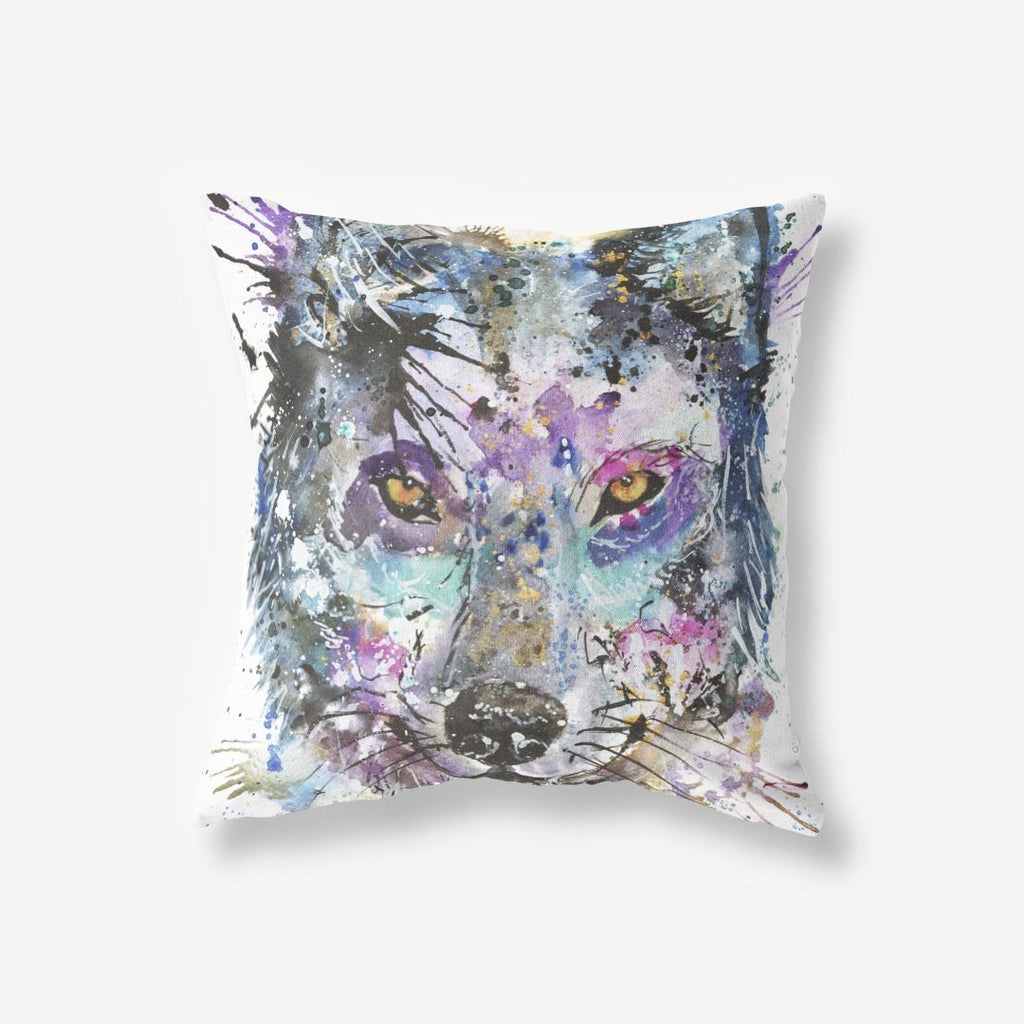 """Howl"" Wolf Faux Suede Cushion"