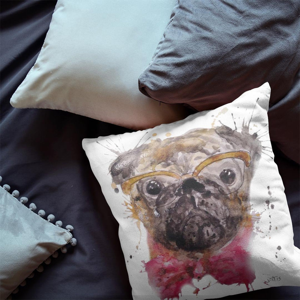 Pug Faux Suede Cushion