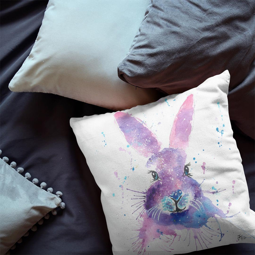"""Berry"" Hare Faux Suede Cushion"