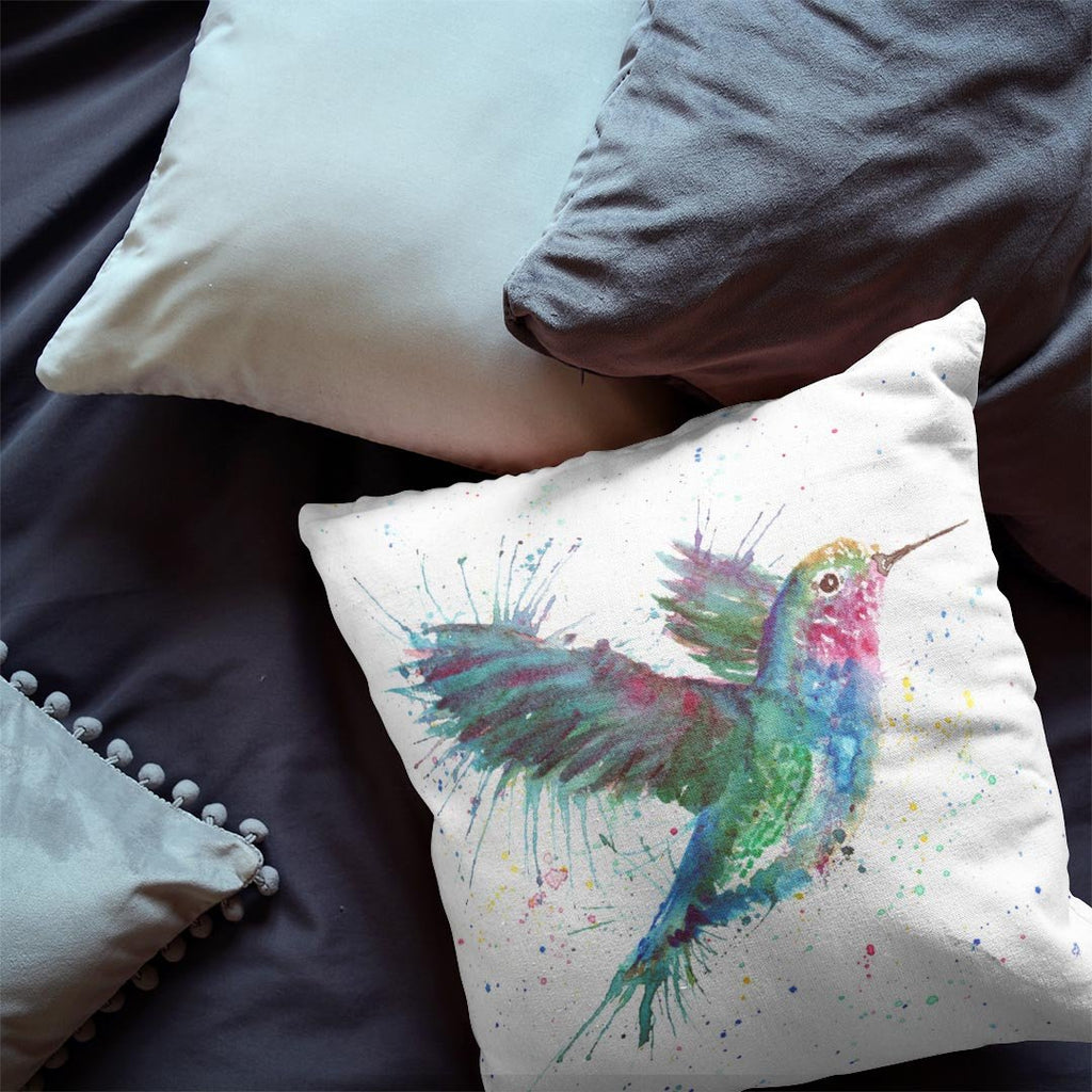 """Sue"" Humming Bird Faux Suede Cushion"