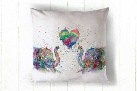 """Romantics"" elephant  40 x 40cm cushion cover"